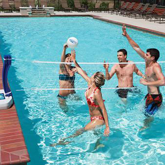 The Swimways 2 In 1 Features Two Of Most Por Swimming Pool All One Set Basketball And Volleyball